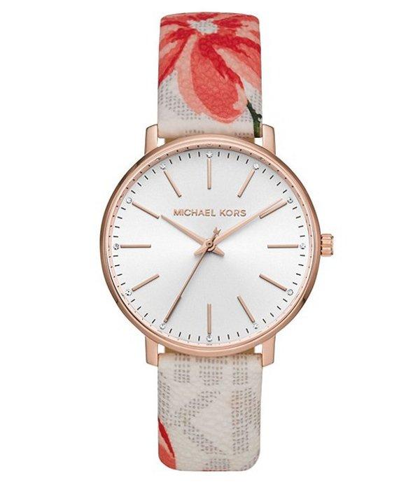 マイケルコース レディース 腕時計 アクセサリー Pyper Three-Hand Multicolor Floral Print Leather Watch Floral
