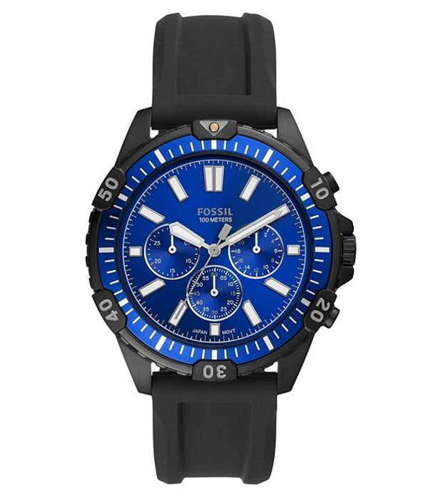 フォッシル メンズ 腕時計 アクセサリー Garrett Blue Dial Chronograph Black Silicone Watch Black