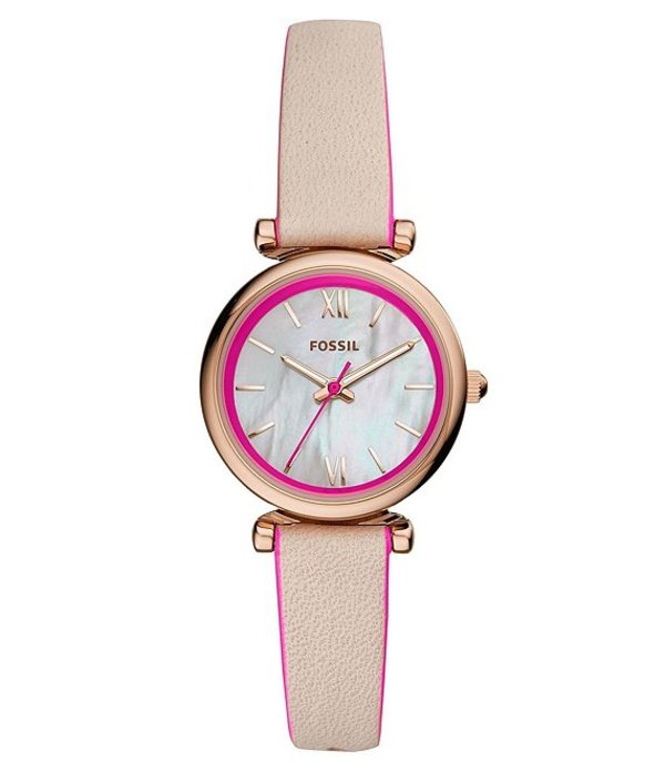 フォッシル レディース 腕時計 アクセサリー Carlie Neon Pink & Nude Leather Mini Three Hand Watch Tan