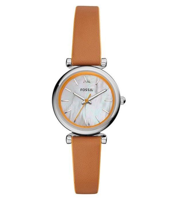 フォッシル レディース 腕時計 アクセサリー Carlie Mini Three Hand Brown Leather Watch Brown