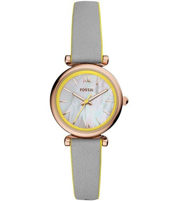 フォッシル レディース 腕時計 アクセサリー Carlie Neon Yellow & Gray Leather Mini Three Hand Watch Gray