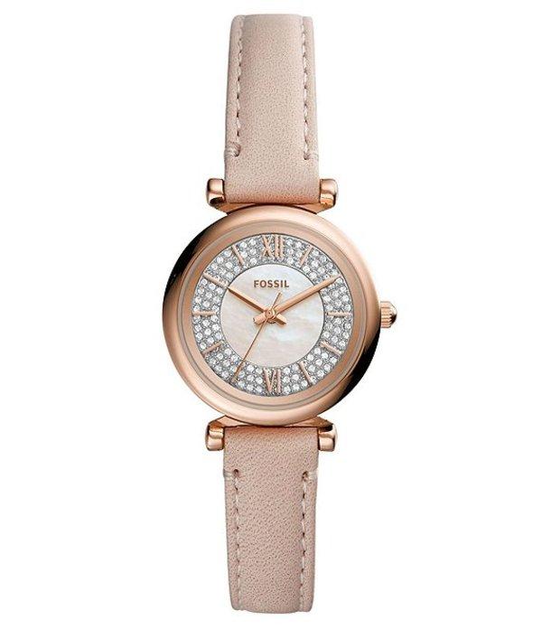 フォッシル レディース 腕時計 アクセサリー Carlie Mini Three Hand Embellished Nude Leather Watch Tan
