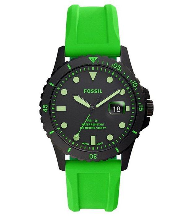 フォッシル メンズ 腕時計 アクセサリー FB-01 Three-Hand Date Neon Green Silicone Watch Green