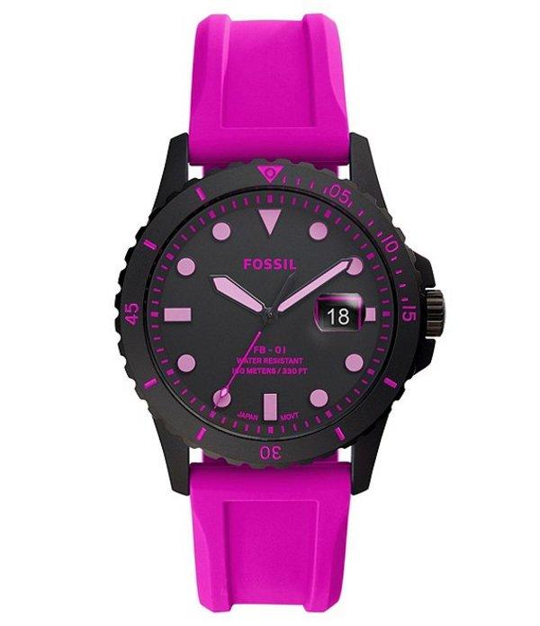 フォッシル メンズ 腕時計 アクセサリー FB-01 Three-Hand Date Pink Silicone Watch Pink