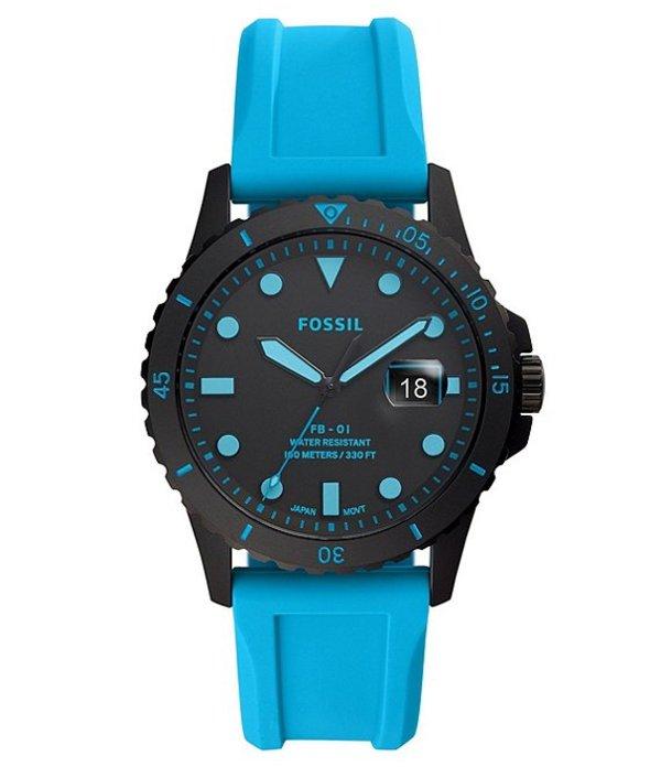 フォッシル メンズ 腕時計 アクセサリー FB-01 Three-Hand Date Neon Blue Silicone Watch Blue