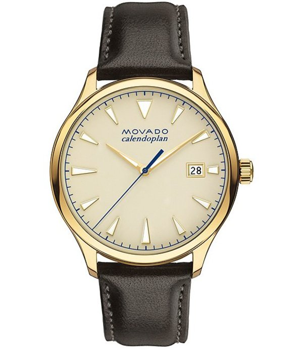モバド メンズ 腕時計 アクセサリー Men's Heritage Series Calendoplan Brown Leather Watch Brown