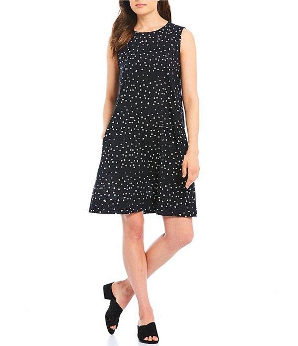 エイリーンフィッシャー レディース ワンピース トップス Petite Size Hand Printed Cotton Dot Round Neckline Sleeveless Dress Black/White