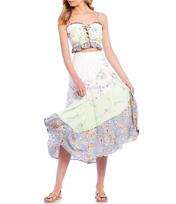 フリーピープル レディース ワンピース トップス In Multi Flowers Printed Ruffle Tiered Midi Skirt Set Light Blue
