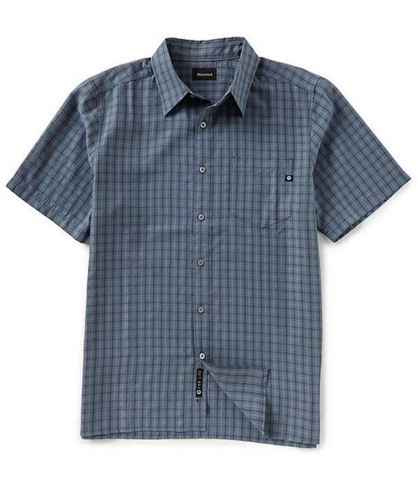 マーモット レディース シャツ トップス Eldridge Check Short-Sleeve Woven Shirt Steel Onyx
