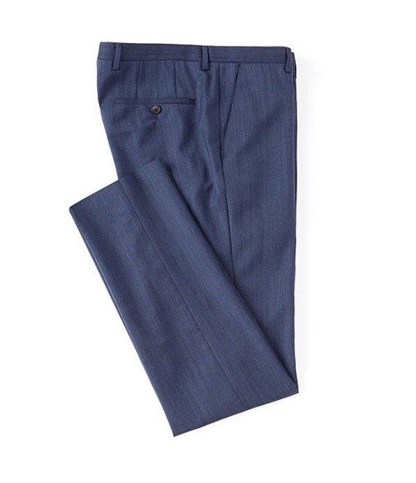 ヒューゴボス レディース ワンピース トップス Lenon Slim Fit Flat Front Blue Fancy Wool Dress Pants Blue