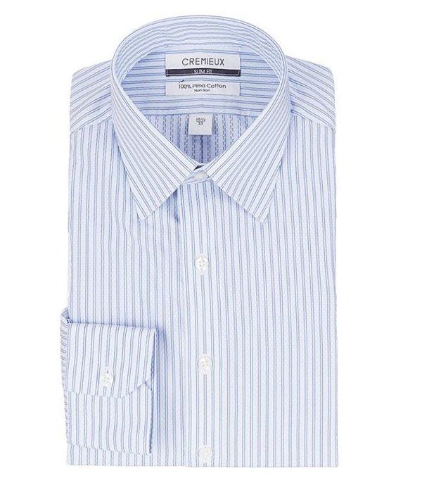 ダニエル クレミュ レディース シャツ トップス Non-Iron Slim Spread Collar Textured Diamond Dress Shirt White/Blue