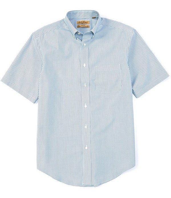 ラウンドトゥリーアンドヨーク レディース シャツ トップス Gold Label Perfect Performance Short-Sleeve Checked Non-Iron Sportshirt Pale Turquoise