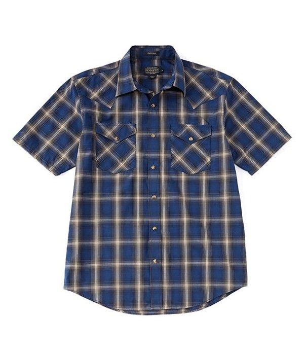 ペンドルトン レディース シャツ トップス Frontier Short-Sleeve Woven Shirt Navy/Blue/Brown Plaid