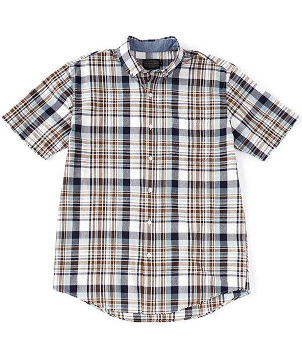 ペンドルトン レディース シャツ トップス Madras Blue/Brown Plaid Short-Sleeve Woven Shirt Blue/Brown Plaid