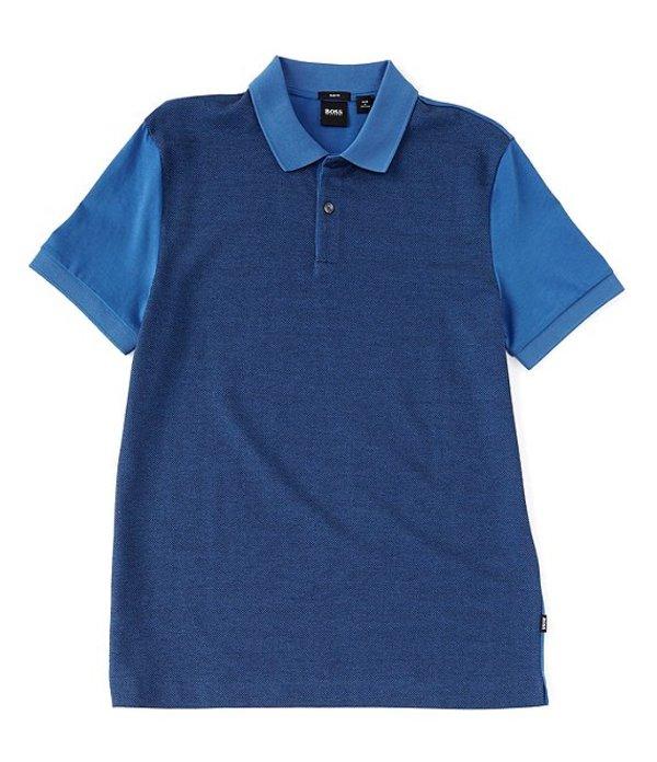 ヒューゴボス レディース シャツ トップス BOSS Slim-Fit Phillipson Micro-Pattern Short-Sleeve Polo Shirt Blue