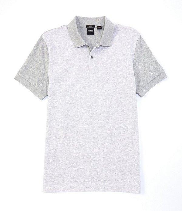 ヒューゴボス レディース シャツ トップス BOSS Slim-Fit Phillipson Micro-Pattern Short-Sleeve Polo Shirt Grey