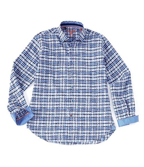 ビスコッティ レディース シャツ トップス Leaf Print Plaid Long-Sleeve Woven Shirt Blue