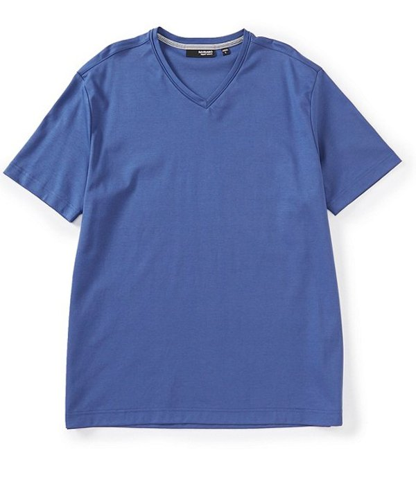 ムラノ レディース シャツ トップス Liquid Luxury Solid Short-Sleeve V-Neck Tee Dusty Cobalt