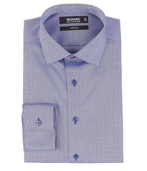 ムラノ レディース シャツ トップス Slim-Fit Spread Collar Herringbone Dress Shirt Dark Blue
