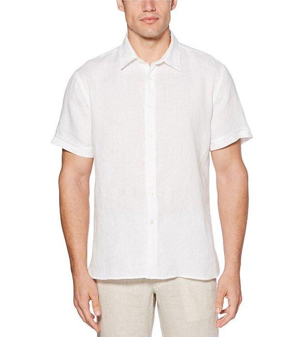 ペリーエリス レディース シャツ トップス Solid Linen Chambray Short-Sleeve Woven Shirt Bright White
