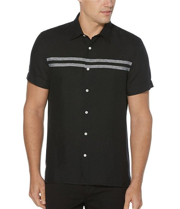 ペリーエリス レディース シャツ トップス Chest Stripe Linen Short-Sleeve Woven Shirt Black