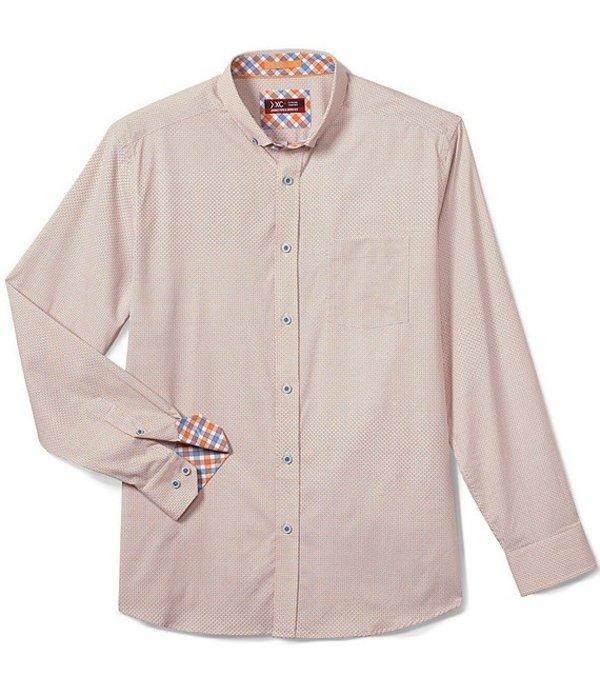 ジョンストンアンドマーフィー レディース シャツ トップス XC4 Starburst Circle Print Stretch Long-Sleeve Woven Shirt Orange