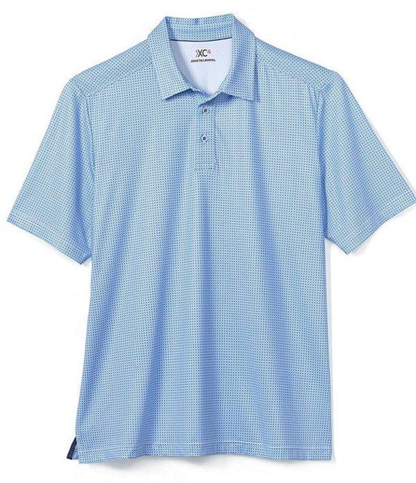 ジョンストンアンドマーフィー レディース シャツ トップス XC4 Tile Print Short-Sleeve Polo Shirt Blue