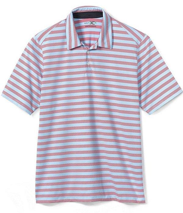 ジョンストンアンドマーフィー レディース シャツ トップス XC4 Stripe Stretch Short-Sleeve Golf Polo Shirt Red