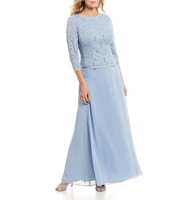アレックスイブニングス レディース ワンピース トップス Sequined Lace & Chiffon Gown Sky Blue