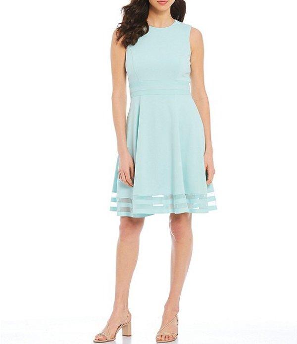 カルバンクライン レディース ワンピース トップス Round Neck Sleeveless Illusion Hem Crepe A-Line Dress Seaspray