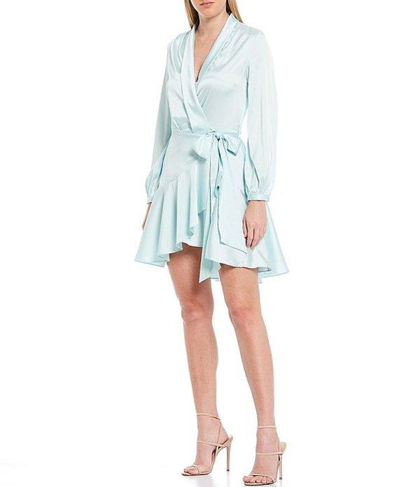 ルーシーパリ レディース ワンピース トップス Satin Wrap Ruffle Long Sleeve Mini Dress Mint