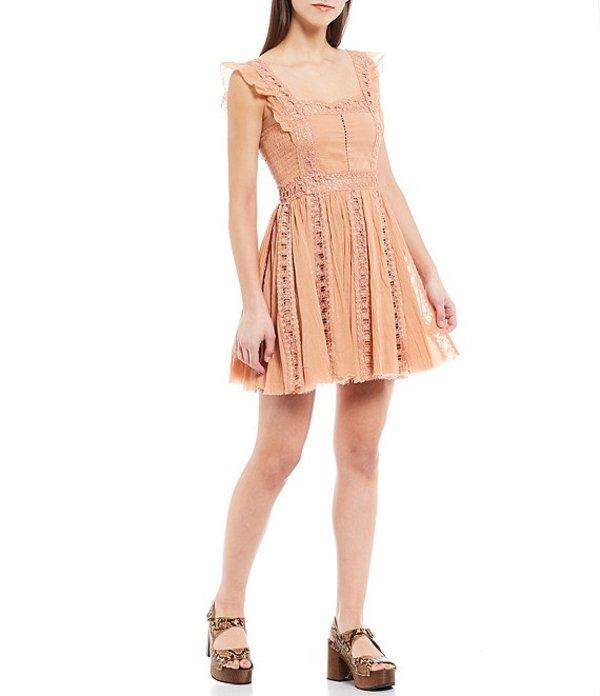 フリーピープル レディース ワンピース トップス Verona Crochet Flutter Strap A-Line Mini Dress Camel