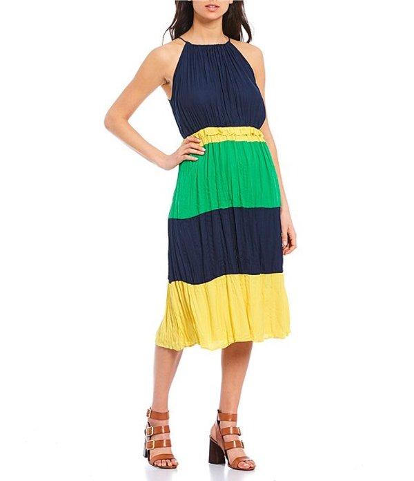 ギブソンアンドラティマー レディース ワンピース トップス Tiered Color Block Halter Neck Midi Dress Navy/Sunset