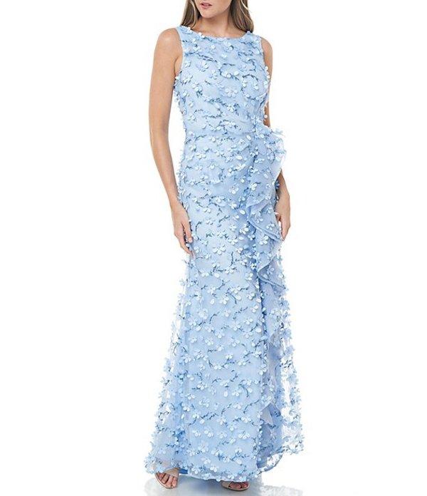 カルメンマークヴァルヴォ レディース ワンピース トップス 3D Novelty Petal Cascade Ruffle Front Gown Ice Blue