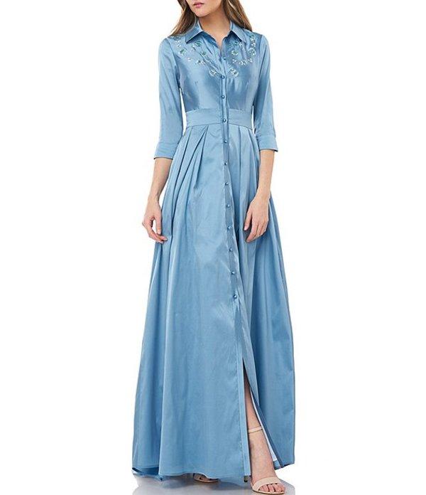 カルメンマークヴァルヴォ レディース ワンピース トップス Embroidered Taffeta Button Front A-Line Gown French Blue