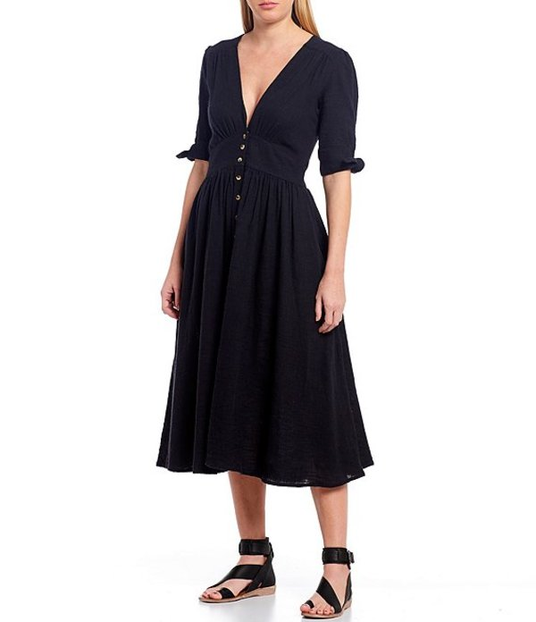 フリーピープル レディース ワンピース トップス Love Of My Life Deep V-Neck Short Tie Sleeve Button Front Midi Dress Black