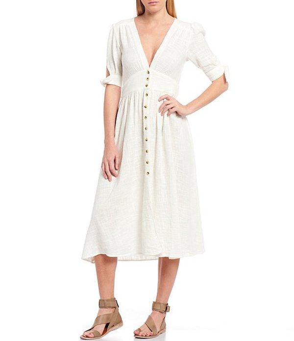 フリーピープル レディース ワンピース トップス Love Of My Life Deep V-Neck Short Tie Sleeve Button Front Midi Dress Ivory