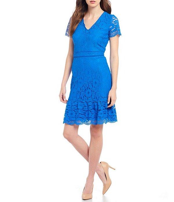 カール ラガーフェルド レディース ワンピース トップス Cotton Lace Scalloped Flounce Hem Sheath Dress Buckingham Blue
