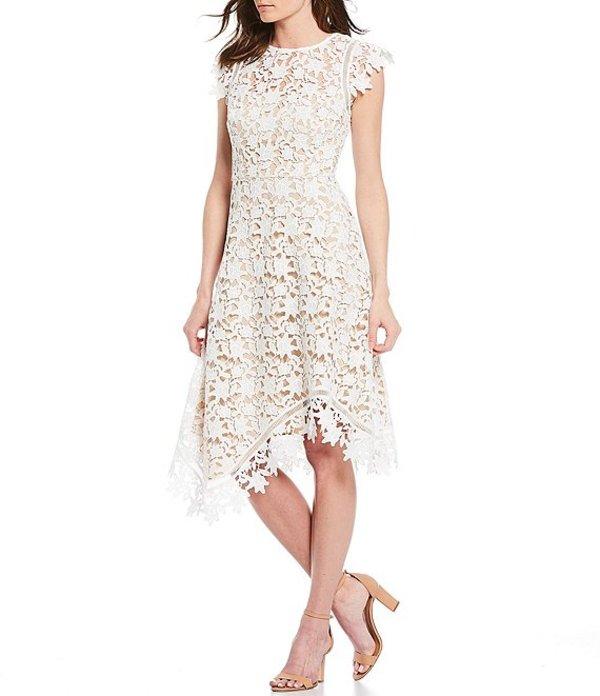エリザジェイ レディース ワンピース トップス Asymetrical Lace Midi Dress Ivory