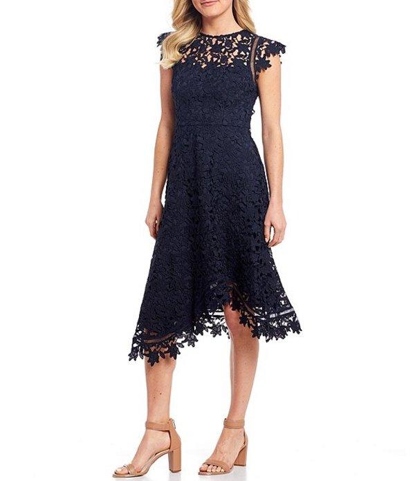 エリザジェイ レディース ワンピース トップス Asymetrical Lace Midi Dress Navy