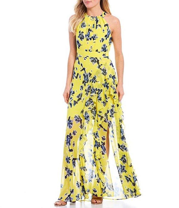 エリザジェイ レディース ワンピース トップス Halter Floral Print Ruffle Front Dress Yellow