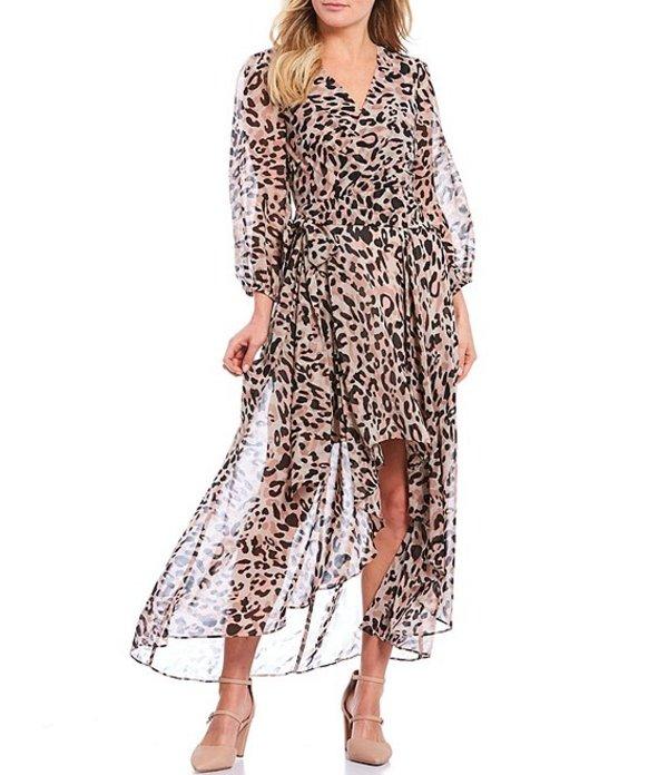 エリザジェイ レディース ワンピース トップス Cheetah Print Hi-Low Illusion Long Sleeve Chiffon Wrap Dress Animal