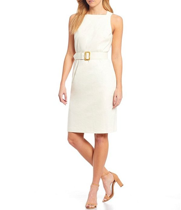 アントニオ メラーニ レディース ワンピース トップス Emilia Linen-Blend Square Neck Suiting Dress Ivory