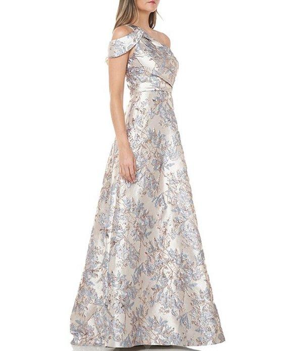 カルメンマークヴァルヴォ レディース ワンピース トップス One Shoulder Floral Metallic Brocade Ballgown French Blue