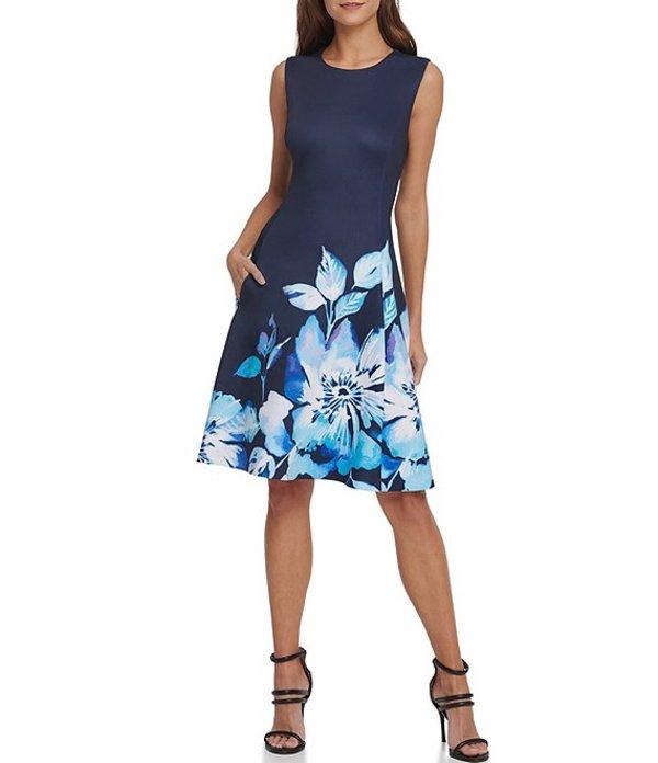 ダナ キャラン ニューヨーク レディース ワンピース トップス Floral Print Hem Stretch Scuba Crepe Dress Navy Multi