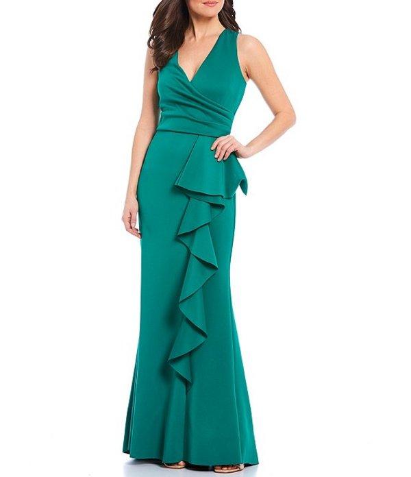 ジェシカハワード レディース ワンピース トップス Cascade Ruffle Peplum Scuba Gown Green