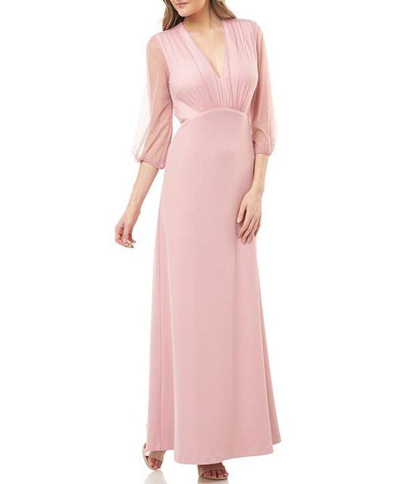 ジェイエスコレクションズ レディース ワンピース トップス 3/4 Balloon Sleeve V-Neck Empire Waist Gown Blush