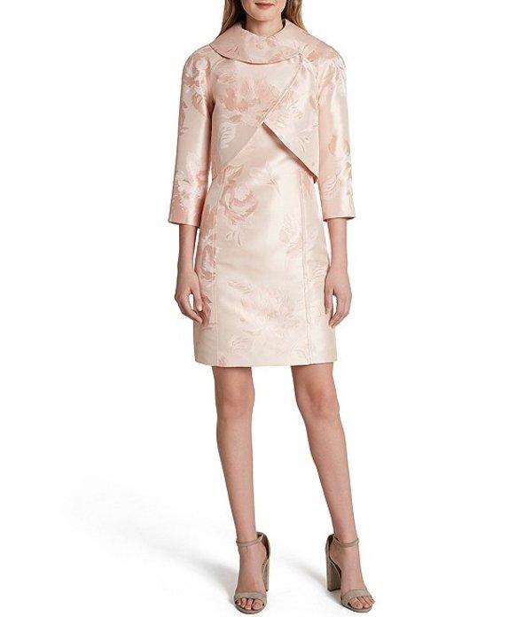 タハリエーエスエル レディース ワンピース トップス 3/4 Sleeve Jacquard Cropped Envelope Neck Jacket 2-Piece Dress Suit Pink Gold
