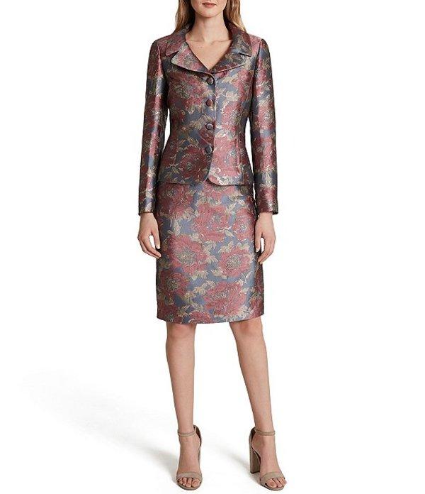 タハリエーエスエル レディース ワンピース トップス Long Sleeve Floral Metallic Jacquard Jacket 2-Piece Skirt Suit Grey Pink
