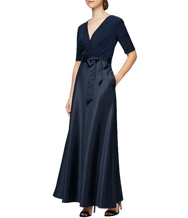 アレックスイブニングス レディース ワンピース トップス V-Neck Elbow Sleeve Tie Waist Satin A-Line Gown Navy